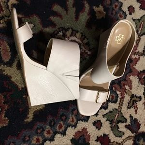 Ann Taylor Helene Wedge Leather Buckle Slides 6.5